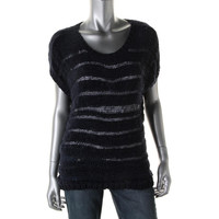 Two by Vince Camuto Womens Knit Open Stitch Blouse