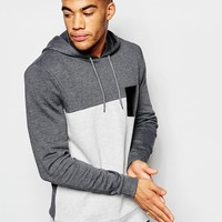 ASOS Cut & Sew Hoodie With Faux Leather Pocket