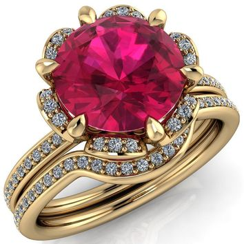 Daisy Round Lab-Created Ruby Floral Diamond Basket Design and Diamond Shoulders Ring