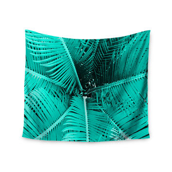 "Suzanne Carter ""Palm-Aqua"" Teal Black Wall Tapestry"