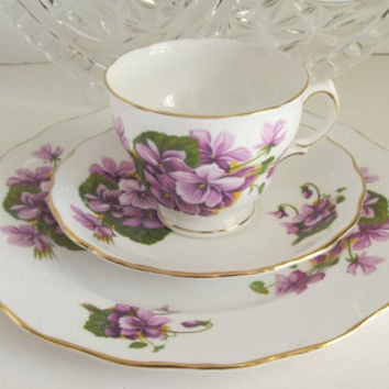 Purple Violets Royal Vale 3 pc Tea Cup Set Fine Bone China English Tea Cup Saucer and Plate Royal Crown