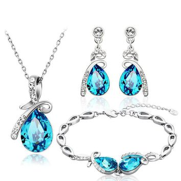 Sapphire Jewelry Necklace, Earrings & Bracelet Set