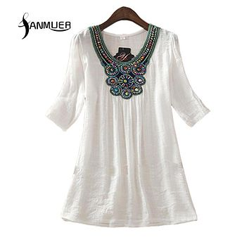 summer dress 2017 Fashion Floral Print Women White Dress Half Sleeve O-Neck Bohemian Casual Dresses Vestidos  Plus size Clothing