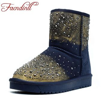 FACNDINLL shoes woman studded ankle boots shearling crystal winter suede leather fur shoes platform diamonds snow boots black