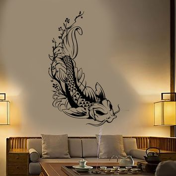 Vinyl Wall Decal Asian Style Japanese Koi Karp Fish Sakura Tree Stickers Unique Gift (1935ig)