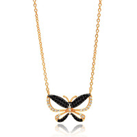 .925 Sterling Silver Gold & Black Butterfly Necklace