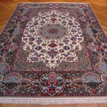 Isfahan Rug Signed Persian Hand-Knotted Rug 5x8 ft Wool & Silk on Silk Ivory
