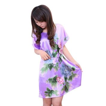VONEGQ Women Flowers Printed Nightwear Ladies Robes Nightwear Sleep Night Dress Nightgown S72