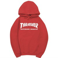 ONETOW Red Thrasher Print Women's Long Sleeve Hoodies Sweater