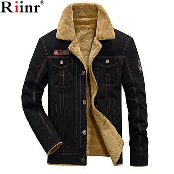 Trendy Riinr 2018 New Arrival Bomber Jacket Men Brand Autumn & Winter Cotton Blends Embroidery Badge Military Style Thick Mens Jackets AT_94_13