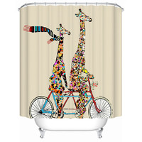 Two Giraffes Cycling Waterproof Shower Curtain Bathroom Curtain Acceptable Personalized Custom Pattern Size 180X180 Y-049