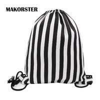MAKORSTER Famous Brand summer Japan and Korean Style waterproof backpack beach drawstring bag Striped Women Cotton Fabric DJ0115