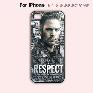 Paul Walker Respect Phone Case For iPhone 6 Plus For iPhone 6 For iPhone 5/5S For iPhone 4/4S For iPhone 5C-5 Colors Available