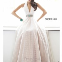 Halter Flowing Polka Dot Tulle Sherri Hill Prom Dress 11250