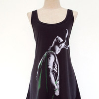 LOKI T Shirt Dress The Avengers Tom Hiddleston Top Women Shirts Black Tunic T-Shirt Sleeveless Vest Mini Dresses Size M L