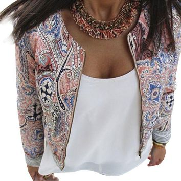 Vintage Fashion Women Ladies Casual Slim Floral Suit Blazer Jacket Coat Outwear TQ