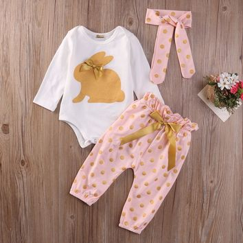 Newborn Baby Boys Girls Toddler Kids clothes Christmas Long Sleeve round neck Romper Jumpsuit Pants Hair Band 3pcs Outfits Set