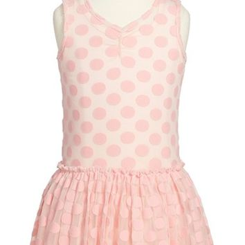Toddler Girl's Pippa & Julie Mesh Dot Drop Waist Dress