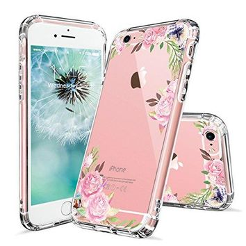 iPhone 6s Case, iPhone 6 Cases for Girls, MOSNOVO Pink Rose Flower Floral Printed Clear Design Transparent Plastic Hard Slim Case with TPU Bumper Gel Protective Cover for Apple iPhone 6 6s (4.7 Inch)