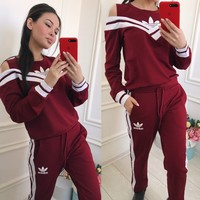 ADIDAS Off-Shoulder Stripe V Neck Two Piece Suit Sports Set B104505-1 Red