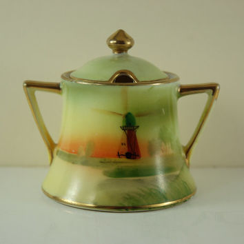Antique Morimura Nippon Hand Painted Porcelain Mustard Pot, Condiment Jar, Gold Paint Trim