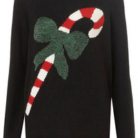 Knitted Xmas Candycane Jumper - Knitwear  - Apparel