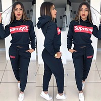 Supreme New women letter print hooded long sleeve top and pants two piece suit Black