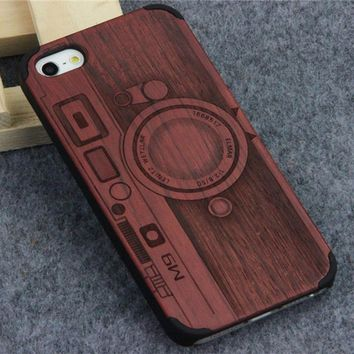Wooden Cover for Apple iPhone 5 5s se Natural Bamboo Carving Design Wood With Durable Plastic Phone Case for iPhone 5s SE