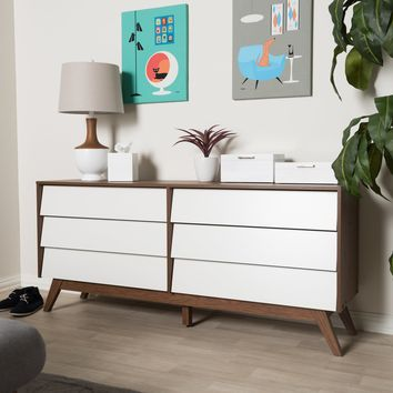 Baxton Studio Hildon Mid-Century Modern White and Walnut Wood 6-Drawer Storage Dresser  Set of 1