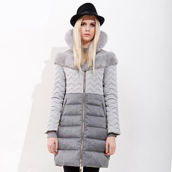 Womens down jackets brands 2017 high-end fashion Gray Down jacket long thick stitching luxurious Rabbit hair fur Chaqueta mujer