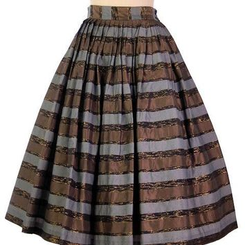 "Vintage Metallic Taffeta Skirt Copper/Steel/Gold 1950s Pleated 28"" Waist"