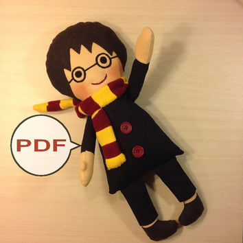 PDF doll pattern Harry Potter PDF Pattern tutorial doll sewing pattern PDF sewing pattern cloth doll making fabric doll patterns rag doll