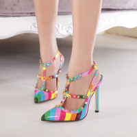 Women Fashion Multicolor Rivets Hollow Band Shallow Mouth Pointed Sandals Heels Shoes
