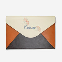 Leather clutch tablet sleeve Monogram clutch oversize clutch monogram purse personalized clutch ipad sleeve bridal clutch bridesmaid clutch