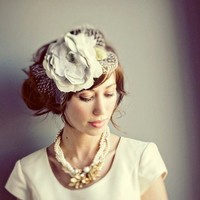 Handmade cream grey and white hair flower hat by mignonnehandmade