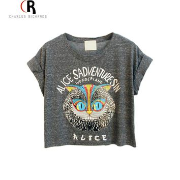 Latest New Women Loose Gray Owl Pattern Crop Top with ALICE'S ADVENTURES IN WONDERLAND Letters Print One Size Free Shipping Day-