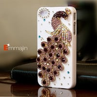 Iphone 4 cases,Iphone 4s cases,crysta blingl Iphone 4 cases--  iphone case,custom order for bling peacock,HTC ans samsung cases