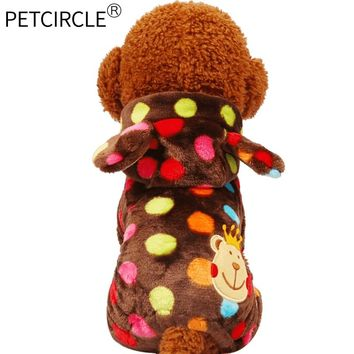 Genuine Petcircle New Warm Pet Dog Clothes Winter Rainbow Dots Dog Coats For Small And Large Dogs Pet Dog Hoodies Jackets