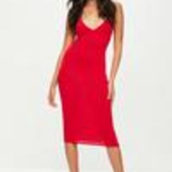 Missguided - Red Cami Strap Bodycon Midi Dress