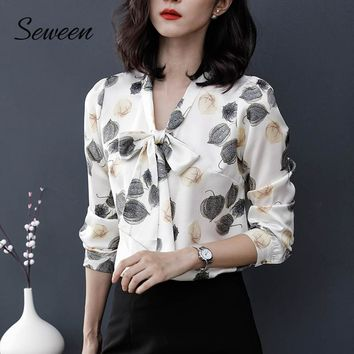 Satin Elegant Print Office Long Sleeve Tops With Bow Tie Ladies Blouse