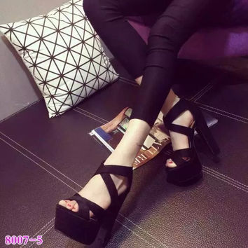 Buckle Peep Toe Women Pumps 2016 High-Heeled Shoes Platform Shoes Female 14cm Sandalias Mujer Gladiator Sandals