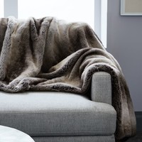 Faux Fur Ombre Throw - Mocha