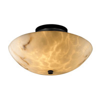 Justice Design Group FAL-9690-35-MBLK LumenAriaBlack Two-Light 14-Inch Wide Round Semi-Flush Bowl with Ring