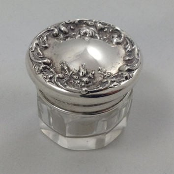 Fluted Glass Vanity Dresser Powder Jar with Lovely Floral Design on Sterling Silver Lid Top No Monogram