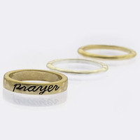 ETCHED PRAYER TEXTURED RING SET