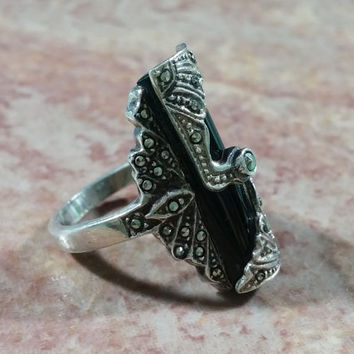 Wow! Vintage Black Onyx Marcasites Sterling Silver Ring Size 5.5 Outstanding Design Quality Made Vintage Silver Antique Style Big n Bold