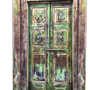 Indian Original Antique Door Old Wood Green Patina Jaipur Door Set With Frame