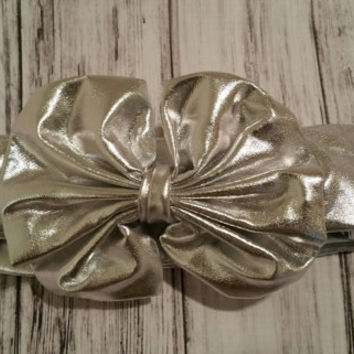 Metallic Silver Messy Bow Headand- infants silver bow, infants metallic headband, girls silver metallic headband  Ready to Ship