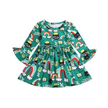 Girls LUCKY  Long Sleeve St Patrick's Day Rainbow Print Dress | Pot of Gold