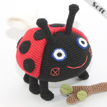 Gaston Ladybird Fetch The Stick Soft Toy From Ben & Holly's Little Kingdom, Crochet, Amigurumi